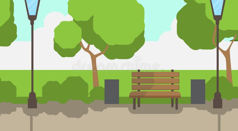 City park wooden bench street lamp green lawn trees template background flat. Vector illustration royalty free illustration
