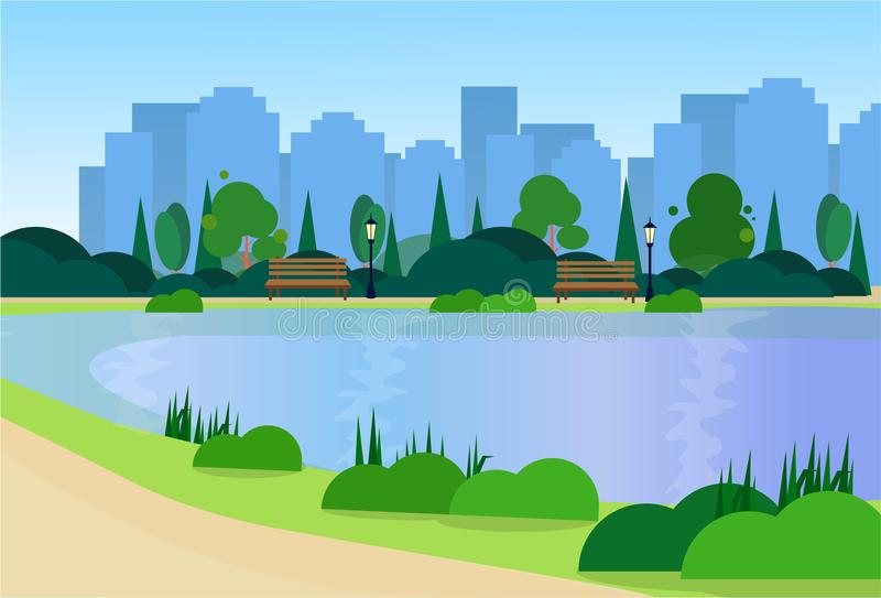 City park wooden bench street lamp river green lawn trees on city buildings template background flat. Vector illustration royalty free illustration