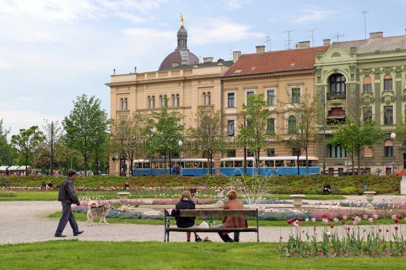 City park in Zagreb stock images