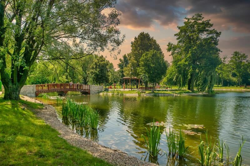 City park in the city of Zdunska Wola, Poland. A revitalized park from the 19th century in the city center royalty free stock images