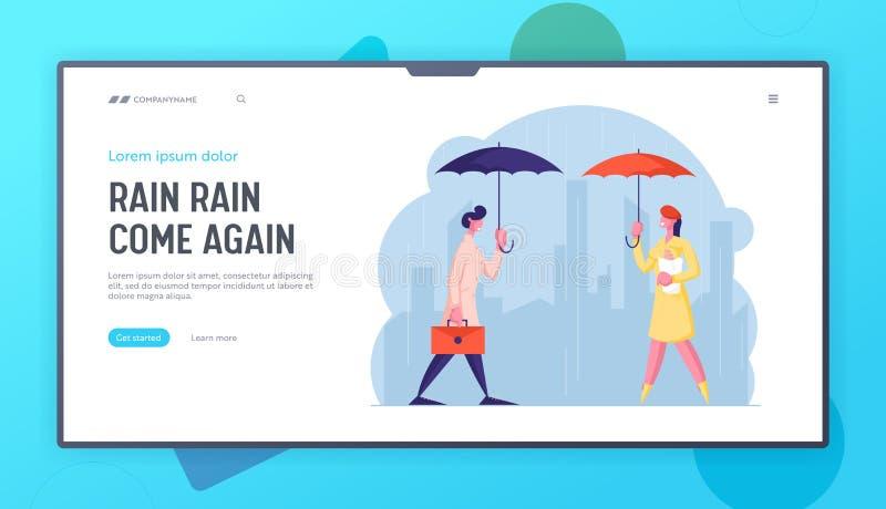 City Passers-by na Wet Rainy Autumn lub Spring Weather Website Lanpage Szczęśliwi Drenched Ludzie z Parasolką ilustracja wektor