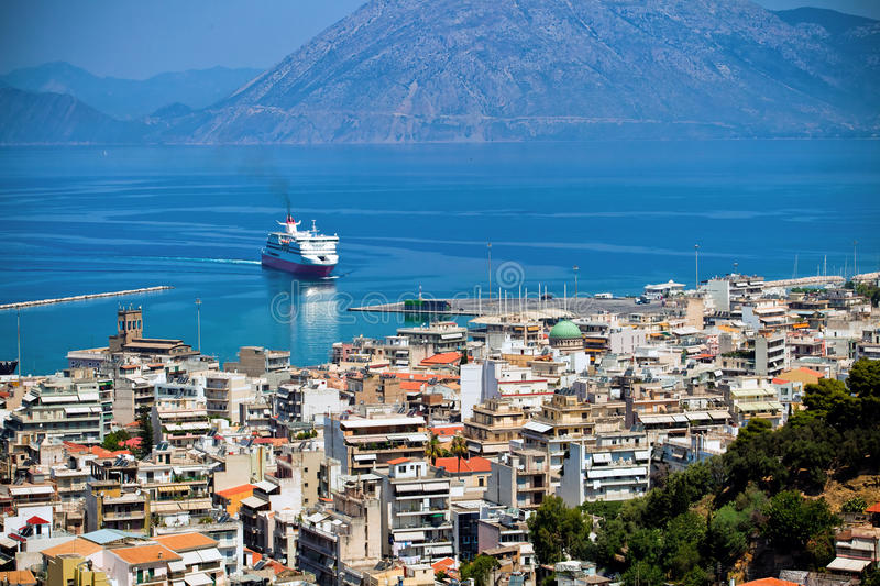 The city Patra, Greece. The view of port in Patra city, Greece stock image