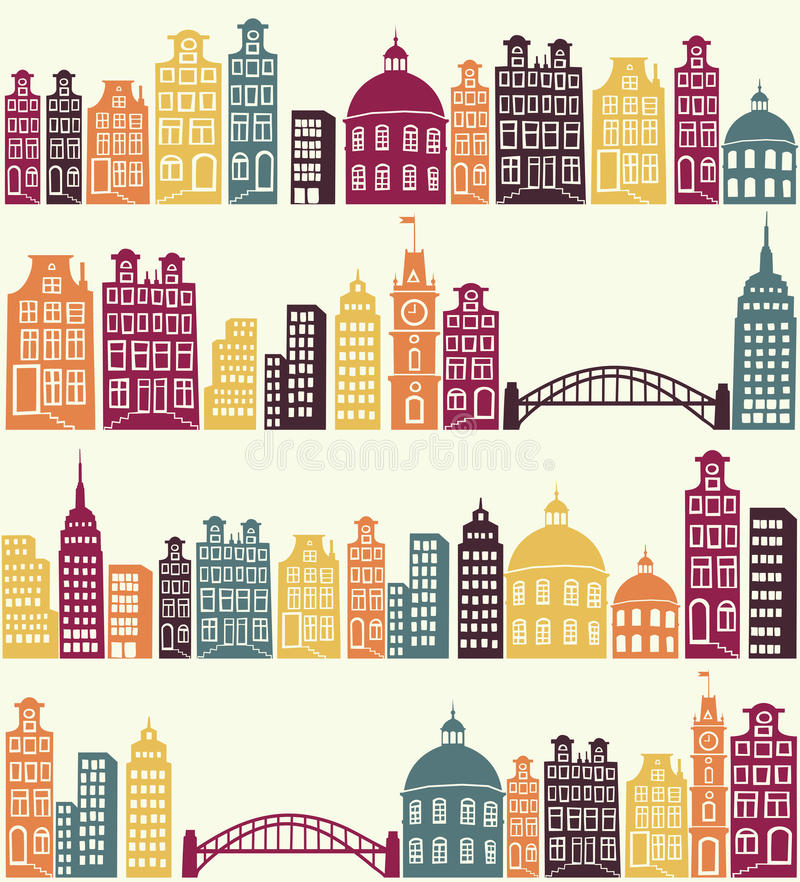 City pattern. Seamless pattern with city silhouette