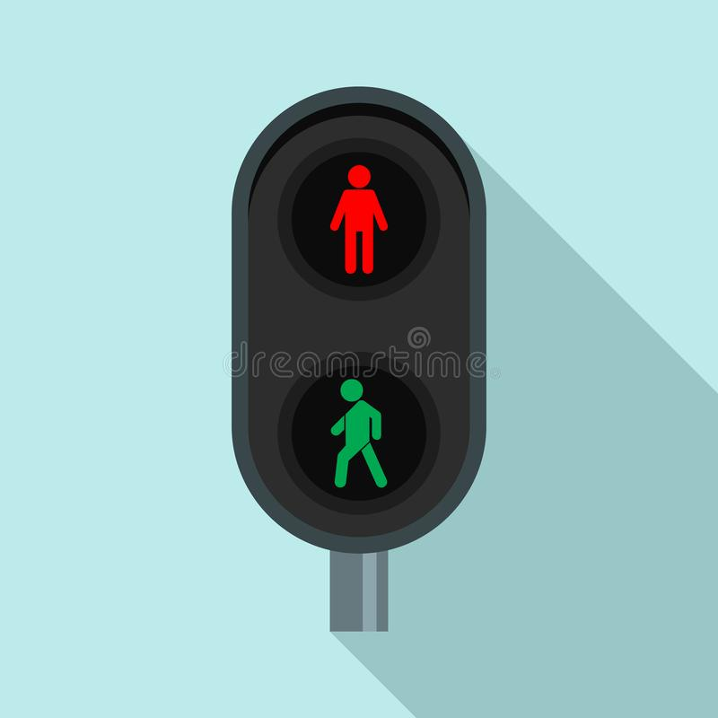 City pedestrian traffic lights icon, flat style. City pedestrian traffic lights icon. Flat illustration of city pedestrian traffic lights vector icon for web vector illustration