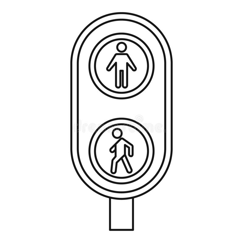 City pedestrian traffic lights icon, outline style. City pedestrian traffic lights icon. Outline city pedestrian traffic lights vector icon for web design stock illustration
