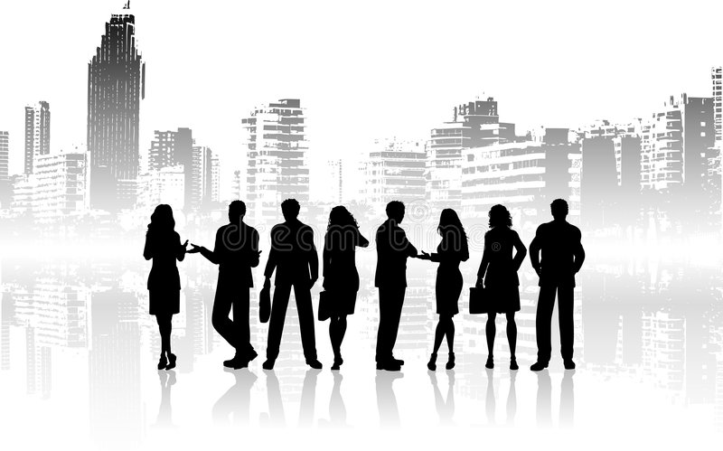 City people. Silhouettes of business people against grunge city background