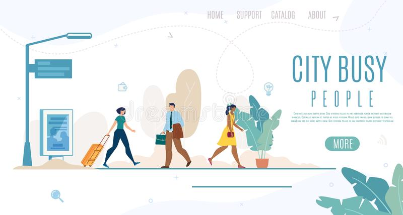 City People Life Time Management Vector Web Banner. Busy City People, Daily Life Time Management Online Service Flat Vector Web Banner, Landing Page Template stock illustration