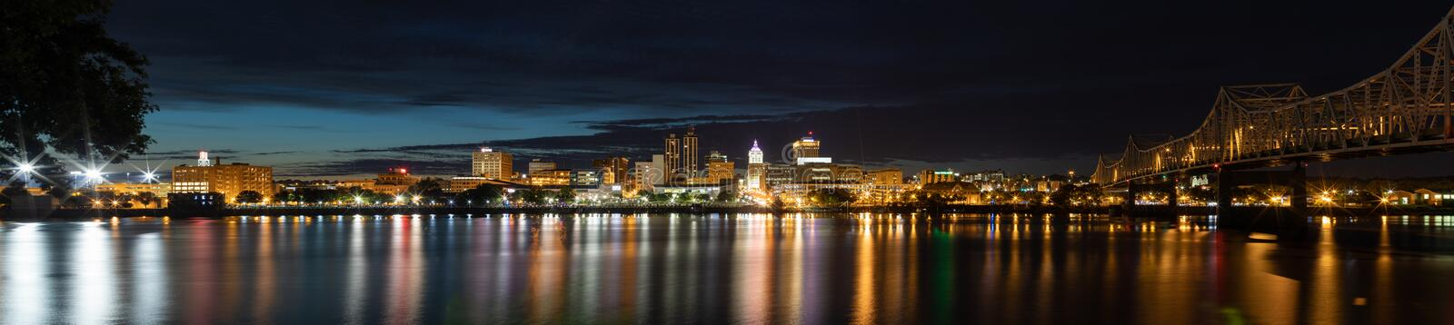The City Of Peoria. Peoria, in the state of Illinois, United States of America, at night, across the Illinois River stock images
