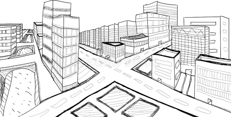 City perspective stock illustration