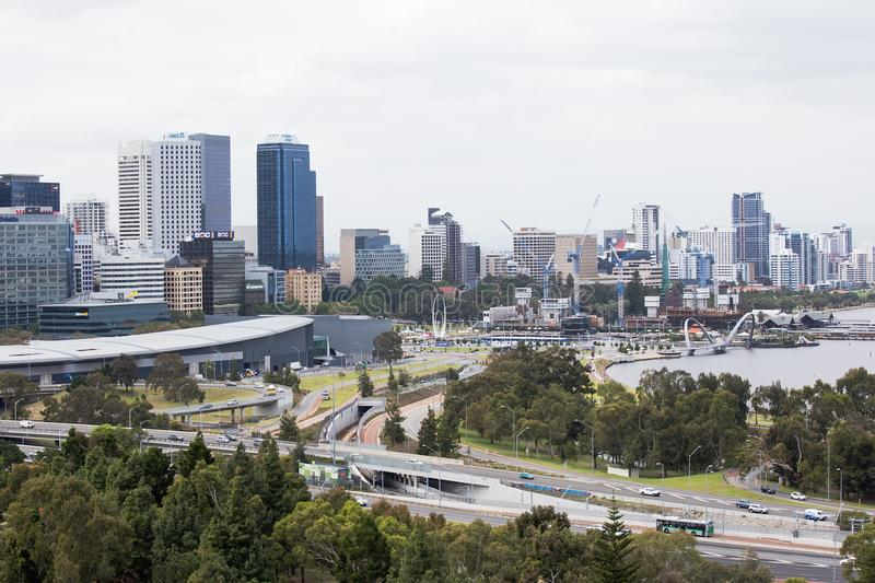 The City of Perth viewed from Kings Park stock images