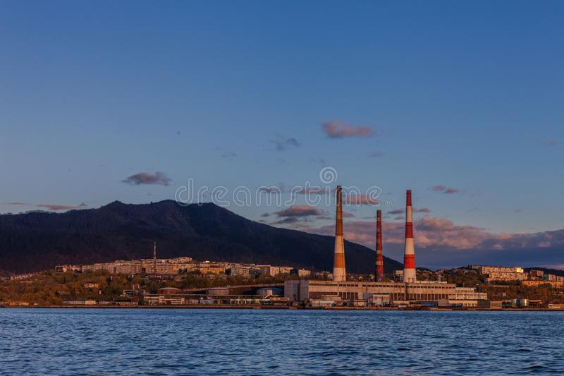 The city of Petropavlovsk-Kamchatsky. In the east of the Russian Federation royalty free stock image
