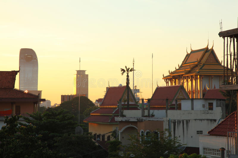 City of Phnom Penh. Phnom Penh is the capital and largest city of Cambodia. The image was taken at central city early morning . The mordern building imitates royalty free stock photos