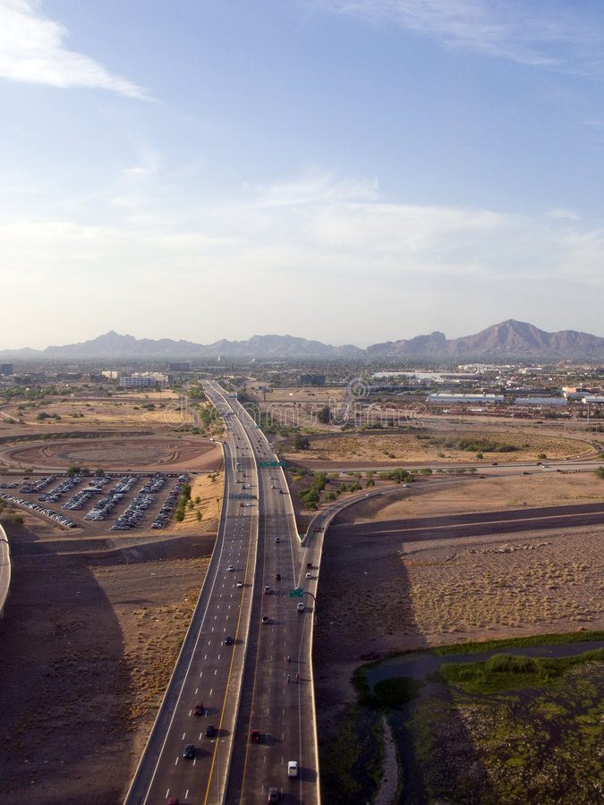 City of Phoenix, AZ. Bird Eye View of Phoenix Highways and Mountains, Arizona stock photo