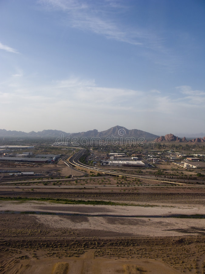 City of Phoenix, AZ. Bird Eye View of Phoenix Highways and Mountains, Arizona royalty free stock photo