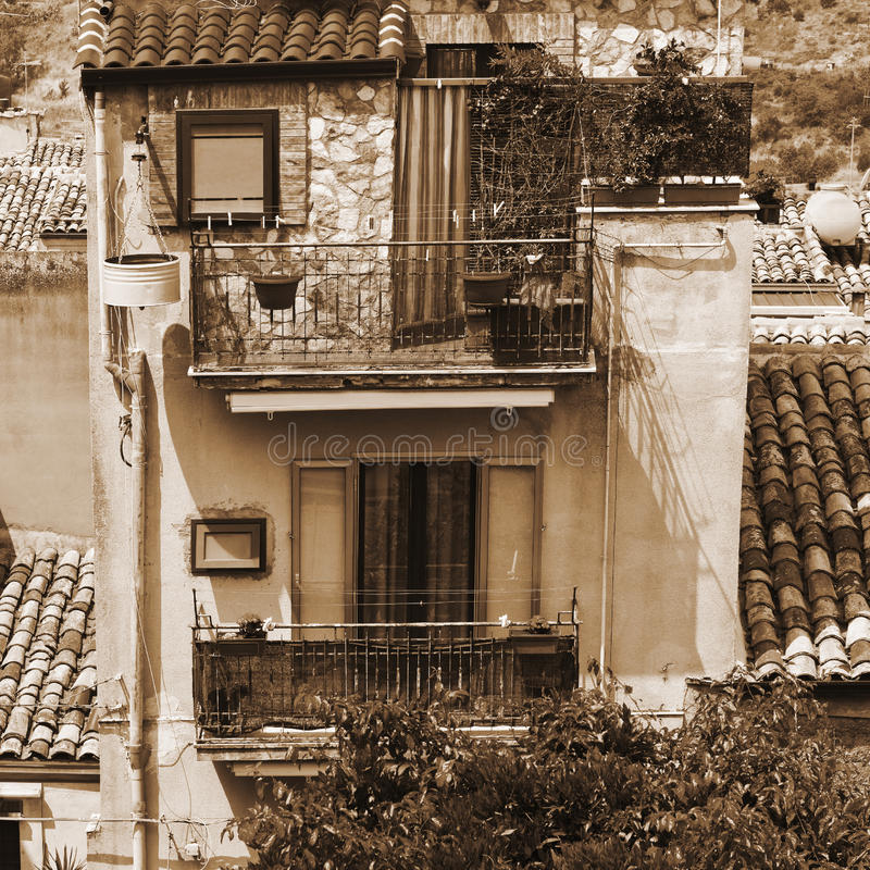 City of Piazza Armerina. View to Historic Center City of Piazza Armerina in Sicily, Vintage Style Sepia stock photo