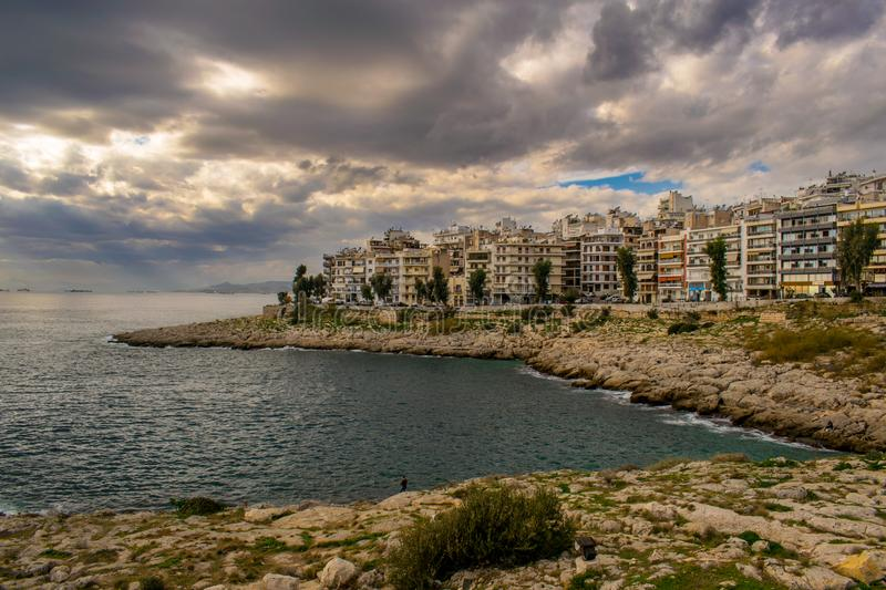 The city of Piraeus royalty free stock photo