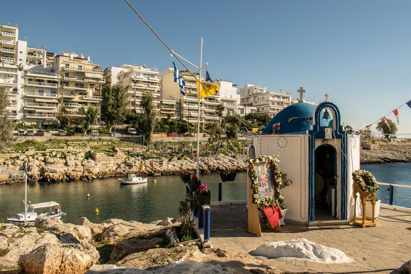 The city of Piraeus stock images