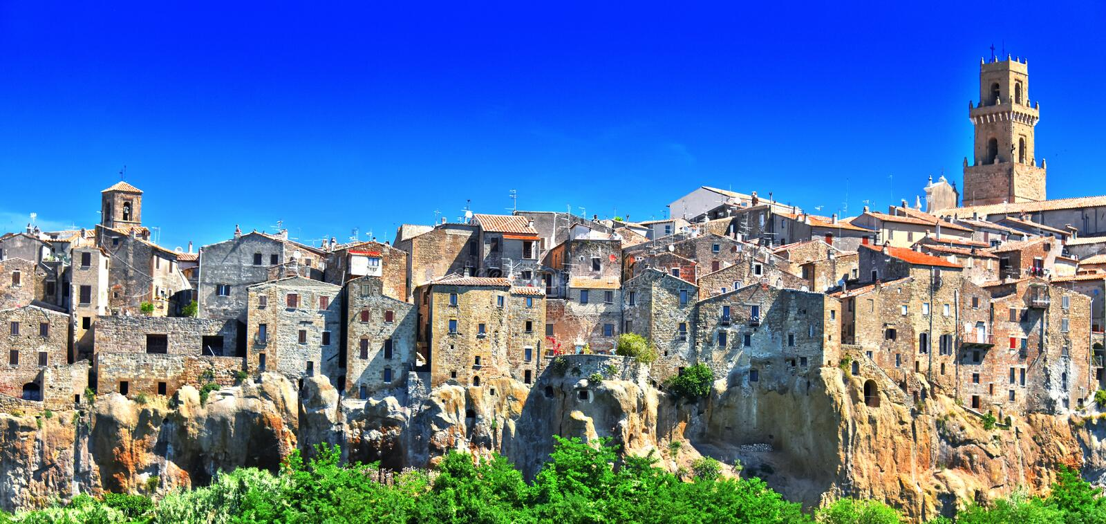 City of Pitigliano in the province of Grosseto in Tuscany, Italy.  stock images