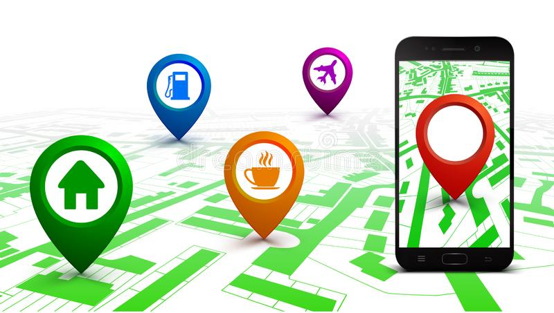 City plan with GPS navigation, city map route navigation smartphone, phone point marker, itinerary destination city map. Route isometric check point – stock photography