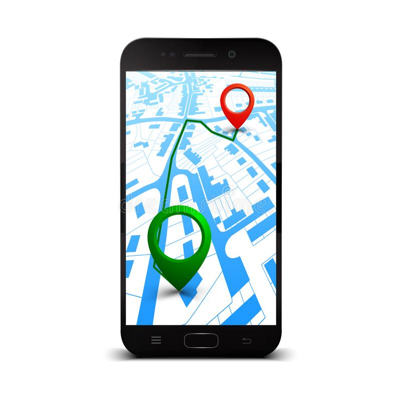 City plan with GPS navigation, city map route navigation smartphone, phone point marker, itinerary destination city map. Route isometric check point – stock illustration