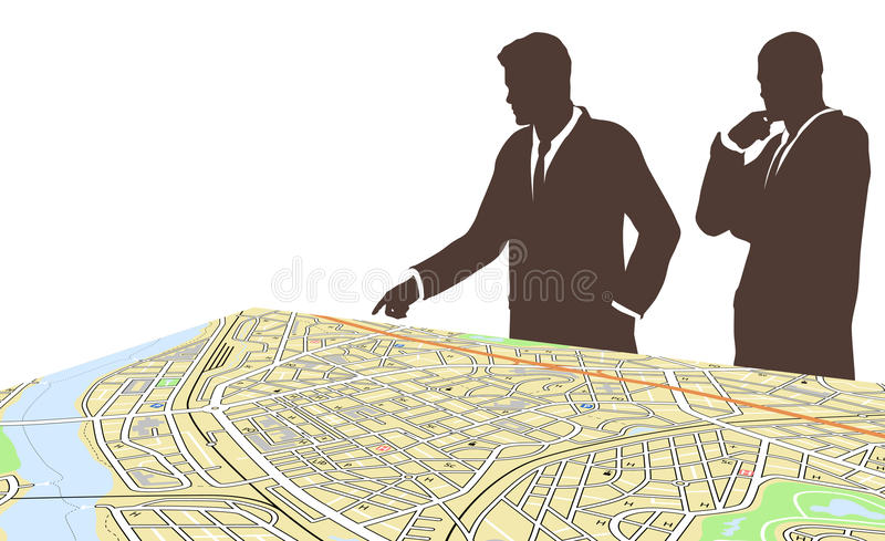 City planners. Editable vector illustration of two men standing by a generic city map stock illustration