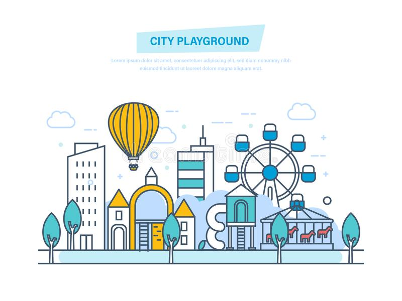 City playground. Public park with children playground. Urban outdoor elements. stock illustration