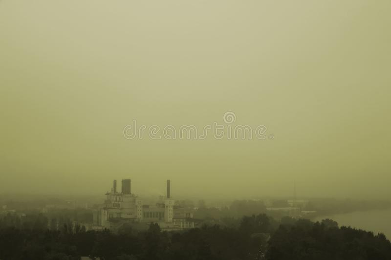 City in a fog royalty free stock image