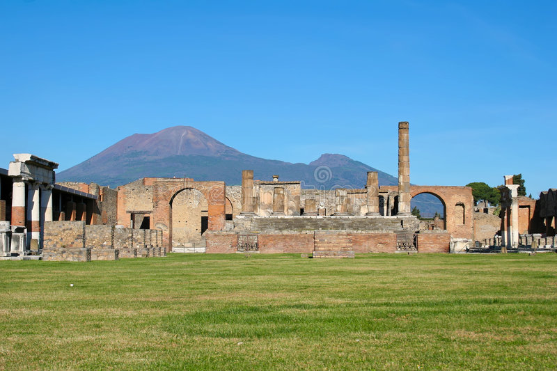 City of Pompeii. With Mount Vesuvius in the background royalty free stock photo