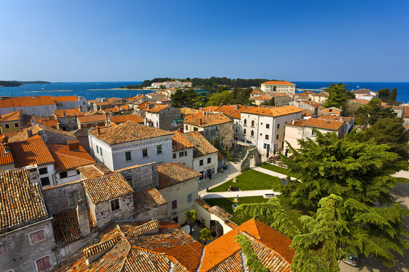 City of Porec. Croatia. Istrian peninsula. Porec (Parenzo, ancient Parentium). General view of the city from the bell tower Euphrasian Basilica royalty free stock image