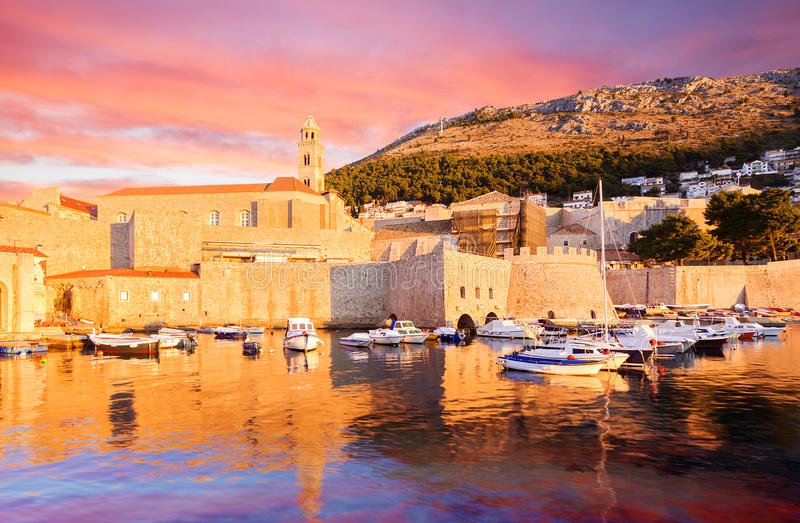 City port in Dubrovnik. Croatia. Morning veiw of city port in Dubrovnik. Croatia stock photo