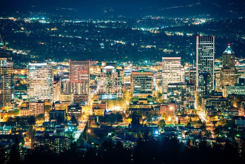 City Of Portland Night Scenery Stock Image Image Of