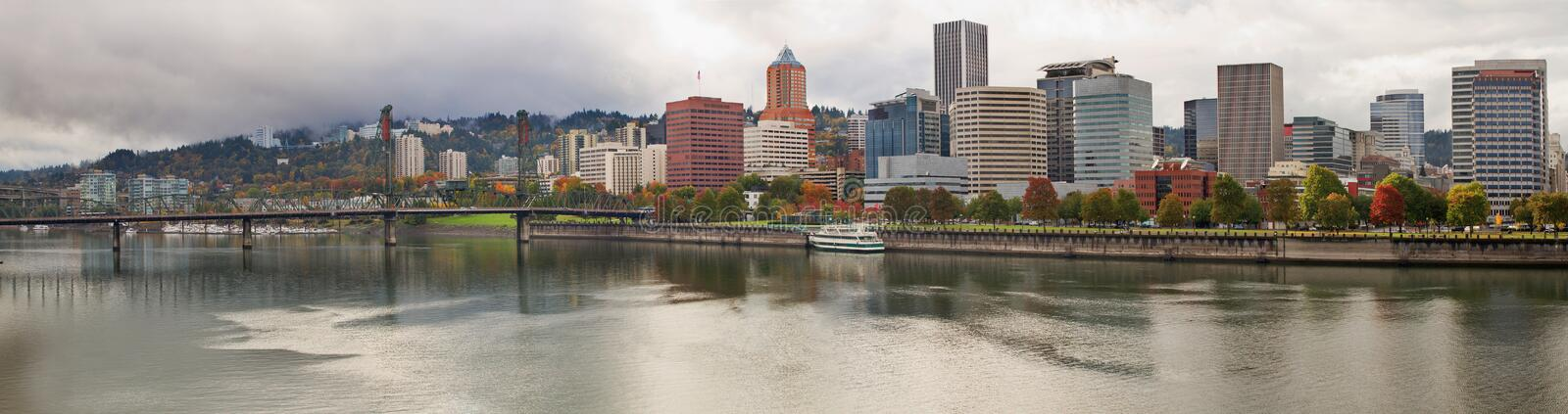City of Portland Oregon in the Fall Panorama stock photo