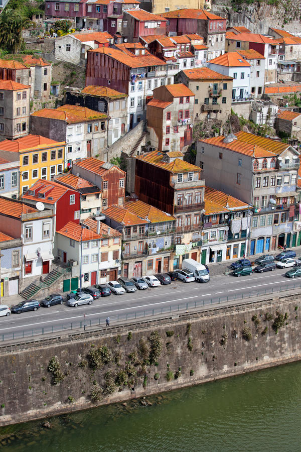 City of porto houses in portugal stock image image of for Cost of building on a steep slope