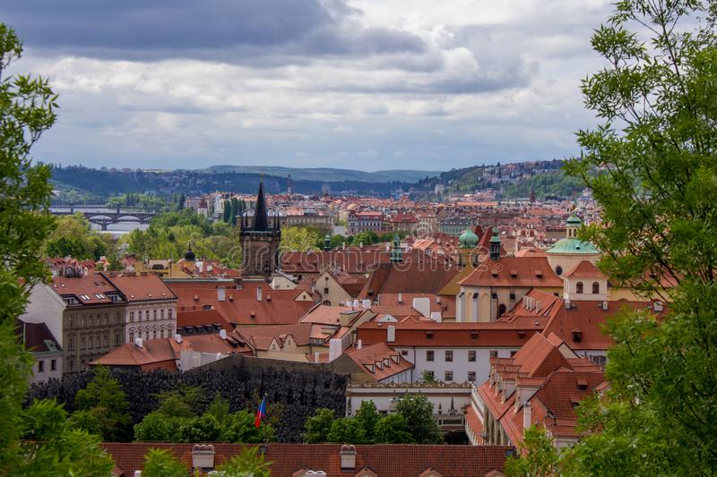 """The city of Prague - view from the Prague Castle, Czech Republic. Prague, capital city of the Czech Republic, is bisected by the Vltava River. Nicknamed """" stock photography"""