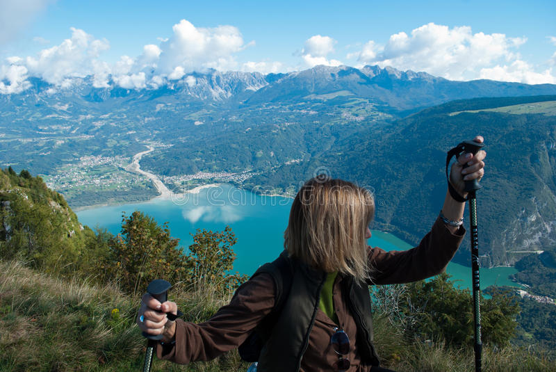 The Holy Cross lake seen from Nevegal, Belluno, Italy. The city and province of Belluno, Veneto, Italy stock images