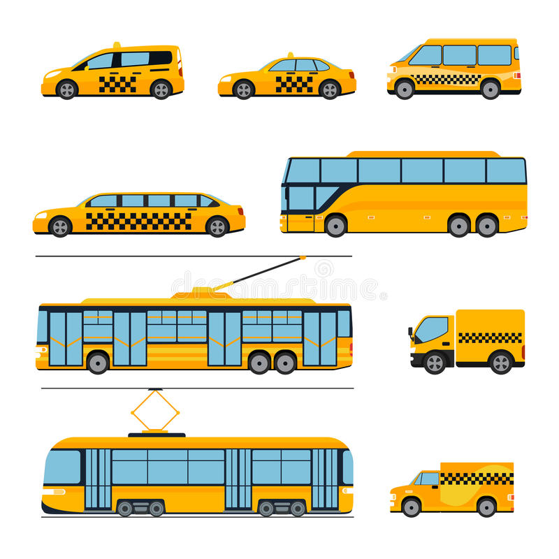 City public transport icons flat set. Urban vector illustration