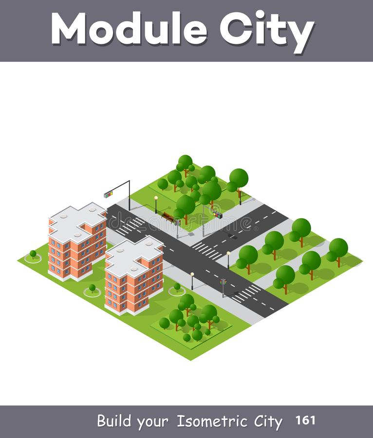 City quarter top view. Landscape isometric 3D projection with skyscrapers, houses and trees with park stock illustration