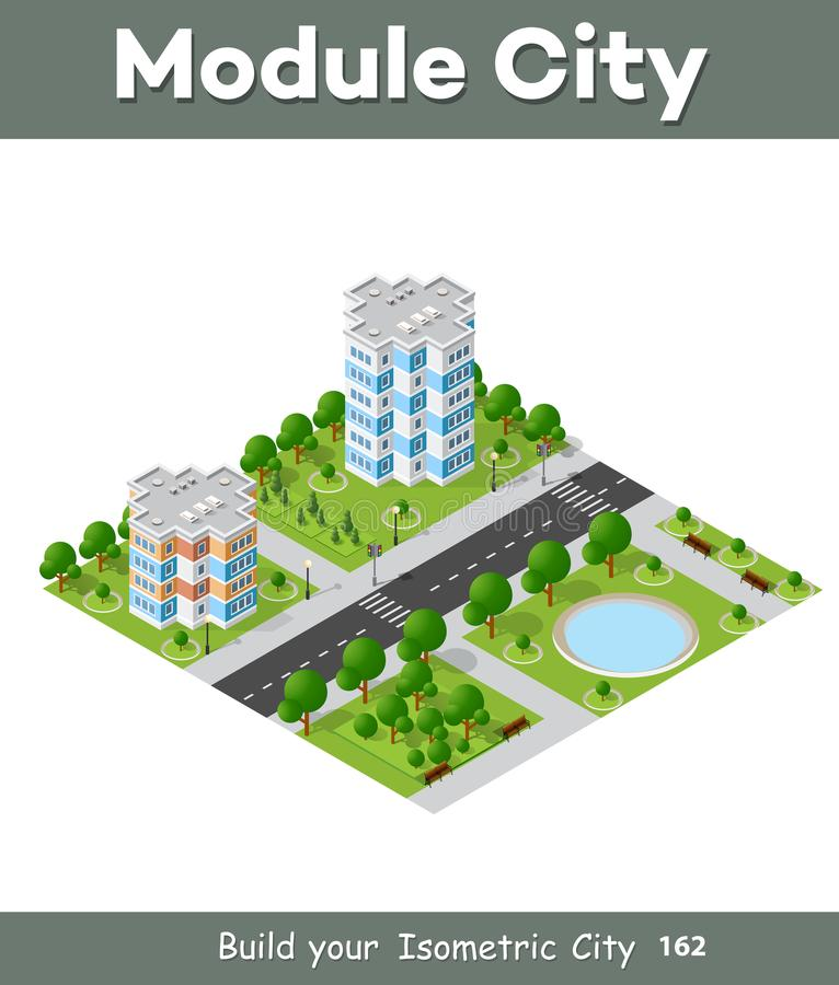 City quarter top view. Landscape isometric 3D projection with skyscrapers, houses and trees with park vector illustration