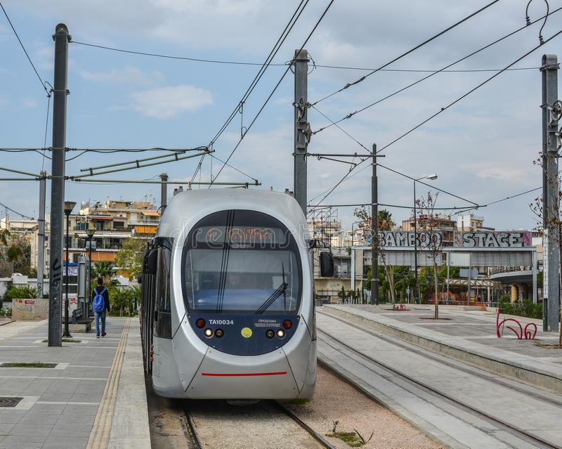 City railway in Athens, Greece. Athens, Greece - Oct 11, 2018. City railway in Athens, Greece. Athens is a global city and one of the biggest economic centres in royalty free stock photos