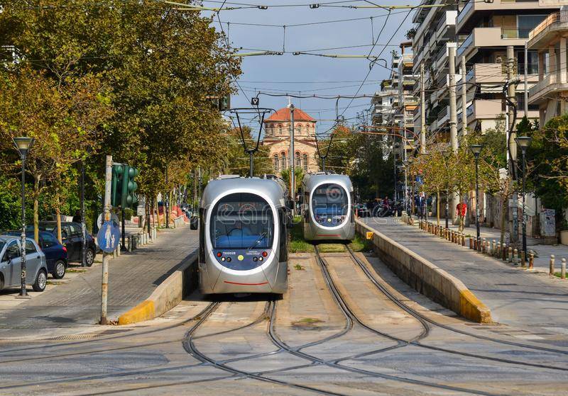 City railway in Athens, Greece. Athens, Greece - Oct 11, 2018. City railway in Athens, Greece. Athens is a global city and one of the biggest economic centres in royalty free stock images