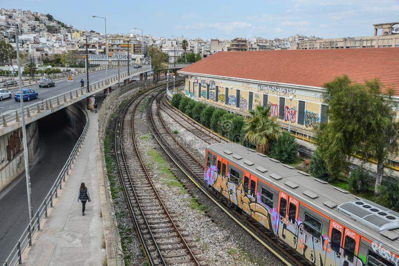 City railway in Athens, Greece. Athens, Greece - Oct 11, 2018. City railway in Athens, Greece. Athens is a global city and one of the biggest economic centres in stock images