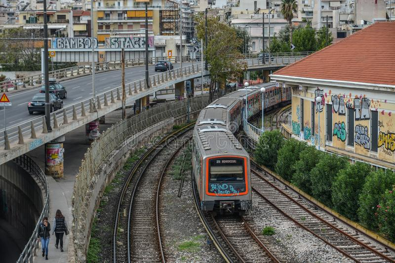 City railway in Athens, Greece. Athens, Greece - Oct 11, 2018. City railway in Athens, Greece. Athens is a global city and one of the biggest economic centres in stock image