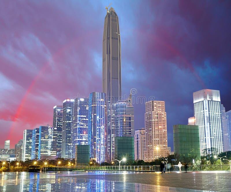Shenzhen skyline, rainbow, China. Shenzhen city cityscape night with rainbow, panorama view of modern buildings stock photography