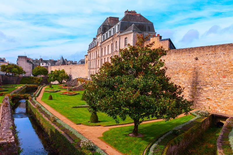 City ramparts and historical buildings Vannes Brittany France. View of city wall palace building and river Marle in Vannes, Brittany, France royalty free stock image