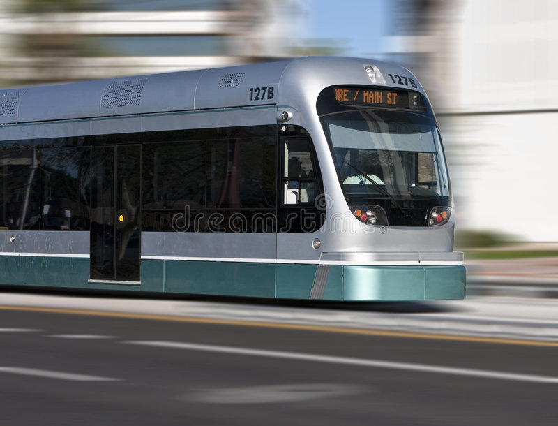 City Rapid Rail Transit. 1.5 billion dollar metro light rail transit connects passengers from Phoenix to Mesa, Arizona royalty free stock images
