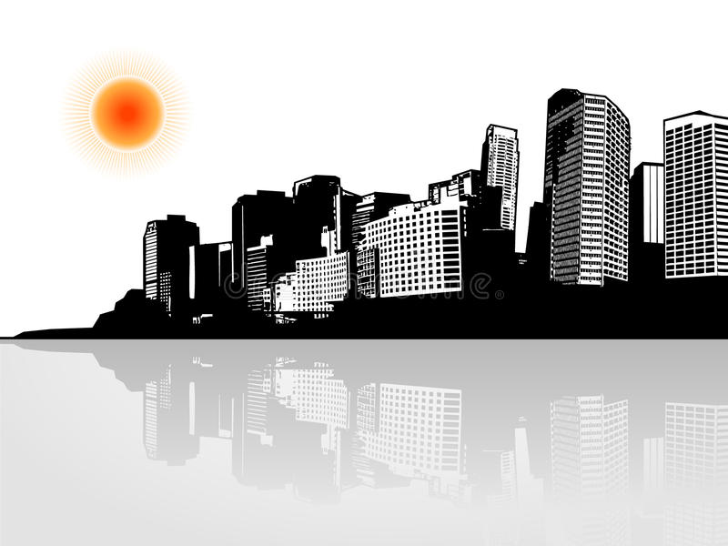 Download City With Reflection. Stock Images - Image: 13142374