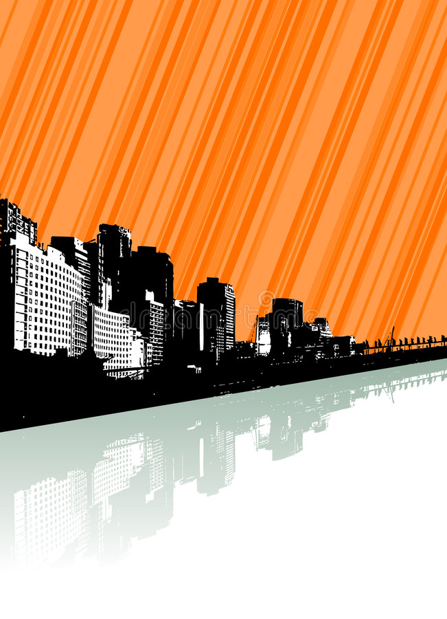 Download City With Reflection And Lines. Stock Vector - Image: 5634200
