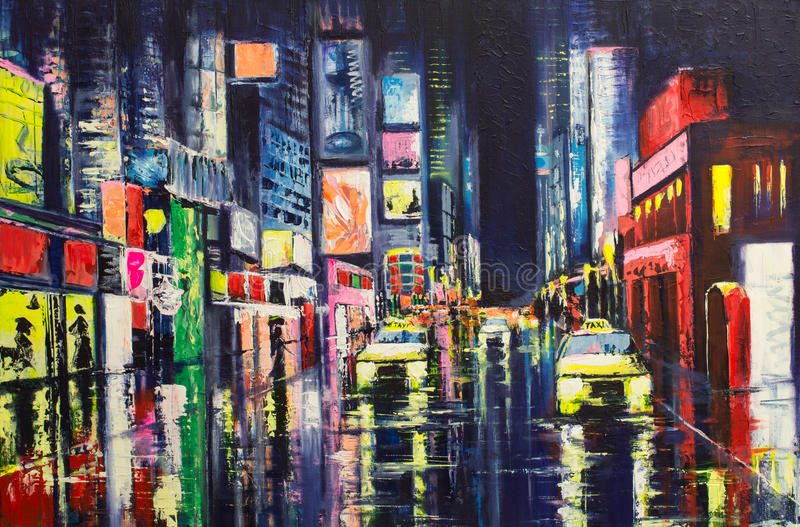 City Reflections. Late evening city street, wet from a rain, with neon lights and yellow cabs. Original painting made on a canvas with palette knife and brush royalty free illustration