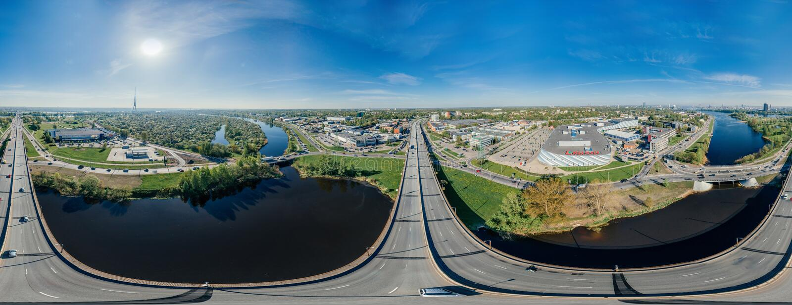 City Riga Bridge road and cars drone sphere 360 vr view royalty free stock photos
