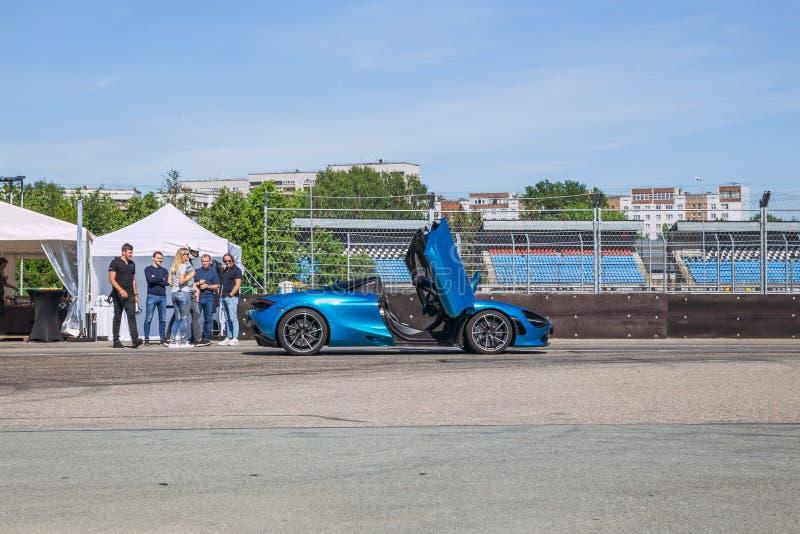 City Riga, Latvian Republic. Sport car -Mclaren in Bikernieku race track and participants of the event. Mclaren club event. May 30. 2019 Travel photo stock photos